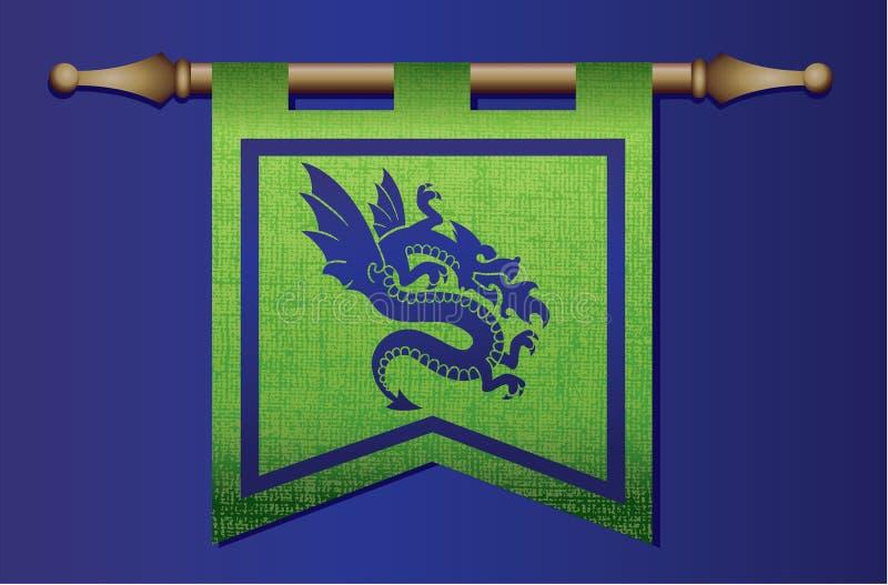 Medieval flag with dragon emblem stock illustration