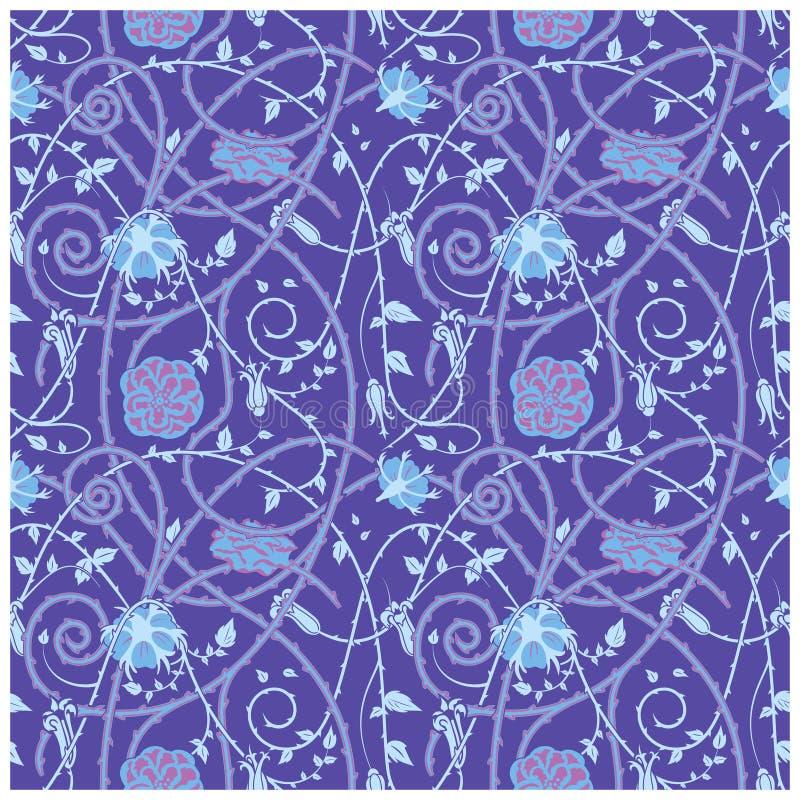 Medieval flowers pattern blue royalty free illustration