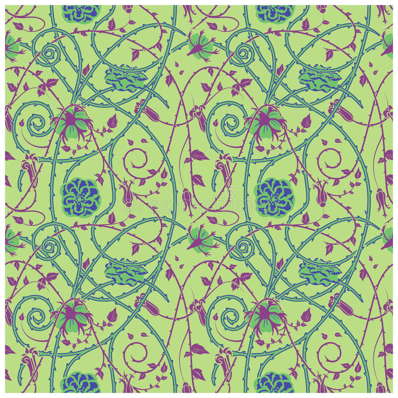 Medieval flowers pattern green royalty free illustration