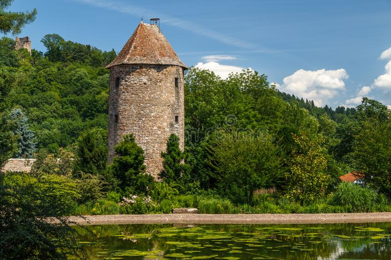 Medieval fortification tower in Weinheim town stock image