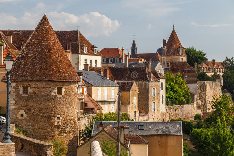 Medieval fortifications of Avallon historic town. France stock photo