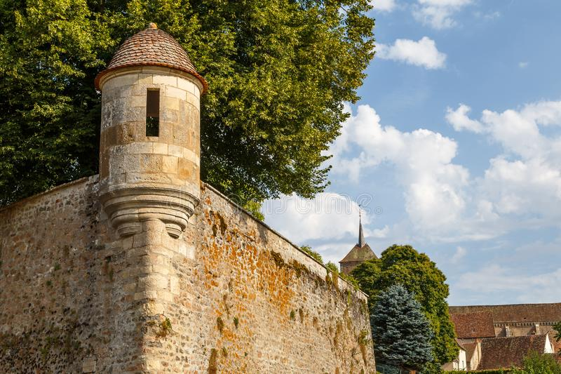 Medieval fortifications of Avallon historic town. France stock image