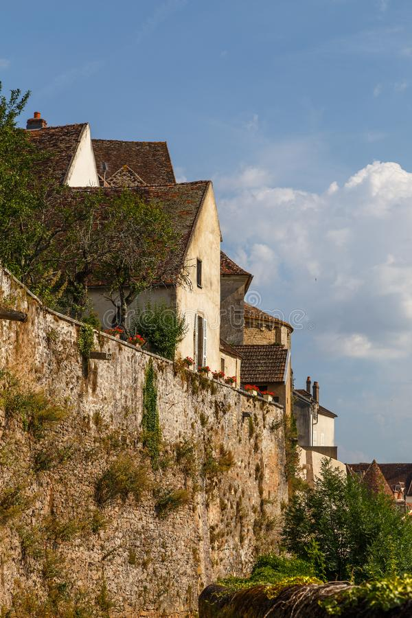 Medieval fortifications of Avallon historic town. France royalty free stock photography