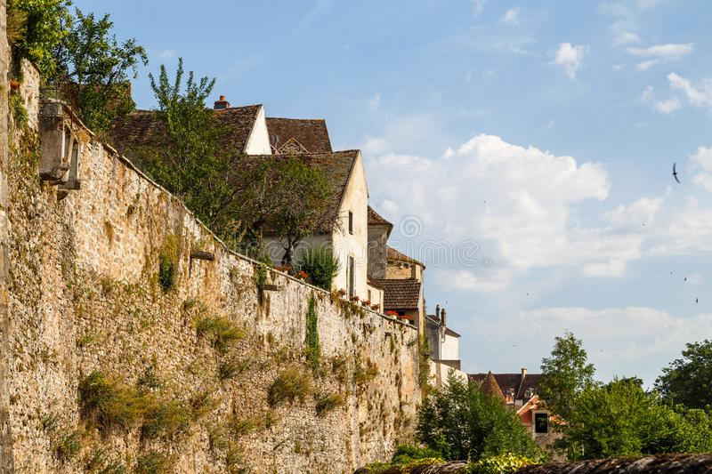 Medieval fortifications of Avallon historic town. France stock photography