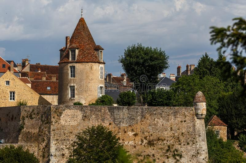Medieval fortifications of Avallon historic town. France royalty free stock photos