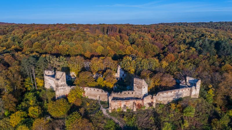 Medieval fortified saxon fortress in Saschiz village. Transylvan royalty free stock image