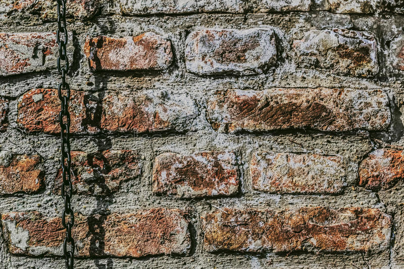 Download Medieval Fortress Antique Brick Wall With Chain Stock Photo - Image: 31954220