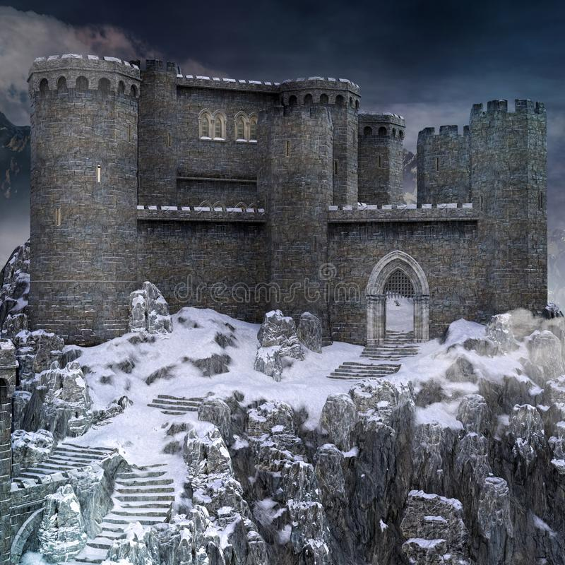 Medieval fortress castle in a mountain scenery royalty free illustration