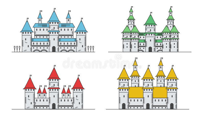 Medieval fortress or castles set. Flat style icons. Medieval fortress or castles set. Flat style icons royalty free illustration