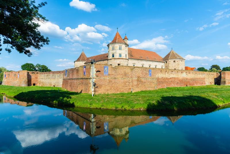 Medieval fortress of Fagaras, Transylvania, Romania stock images