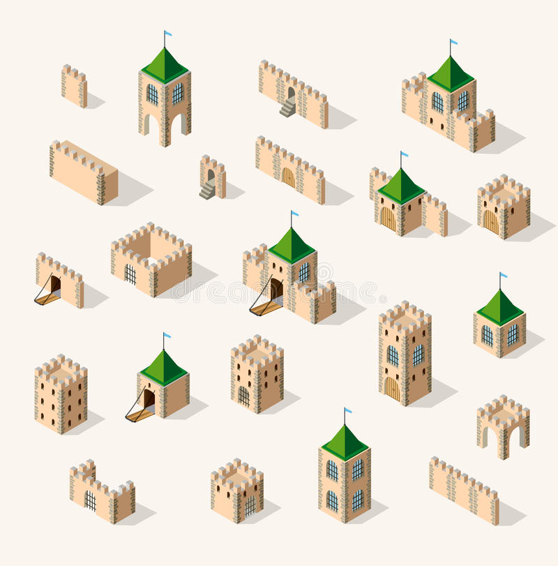 Medieval fortress fort. Isometric view vintage stock illustration