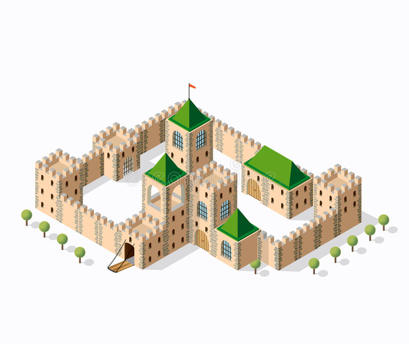 Medieval fortress fort. Isometric view vintage royalty free illustration
