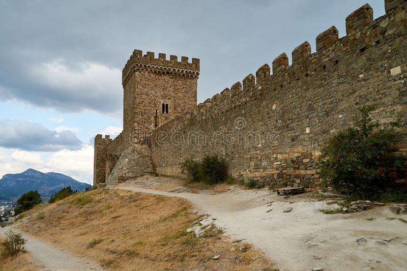 Medieval fortress on a hill royalty free stock image