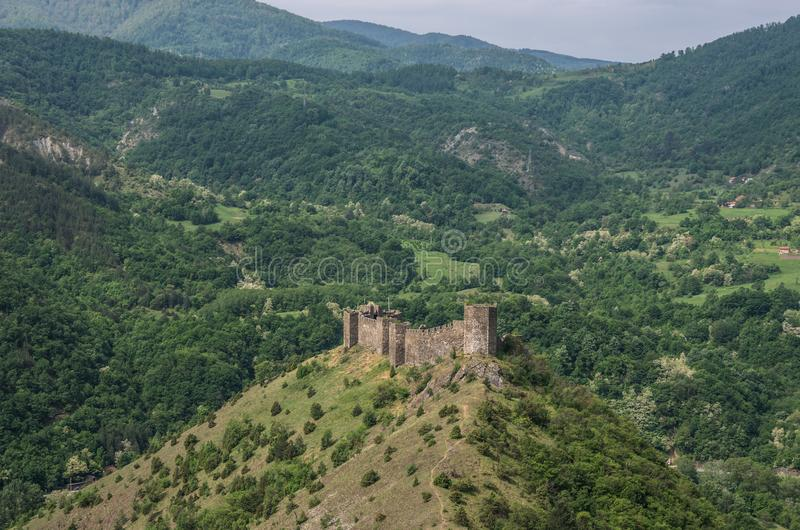 Medieval fortress Maglic on mountain cliff. Serbia stock photos