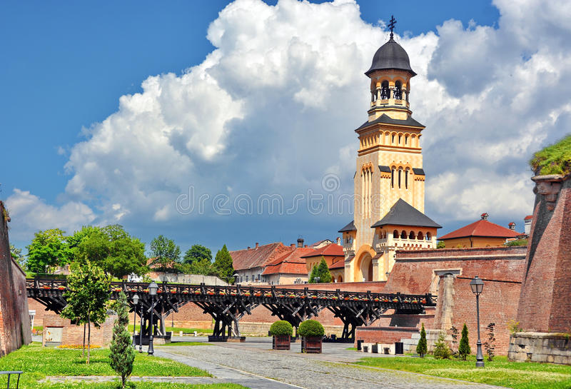 Alba Iulia, Romania. Old medieval fortress Alba Iulia in Romania stock photo