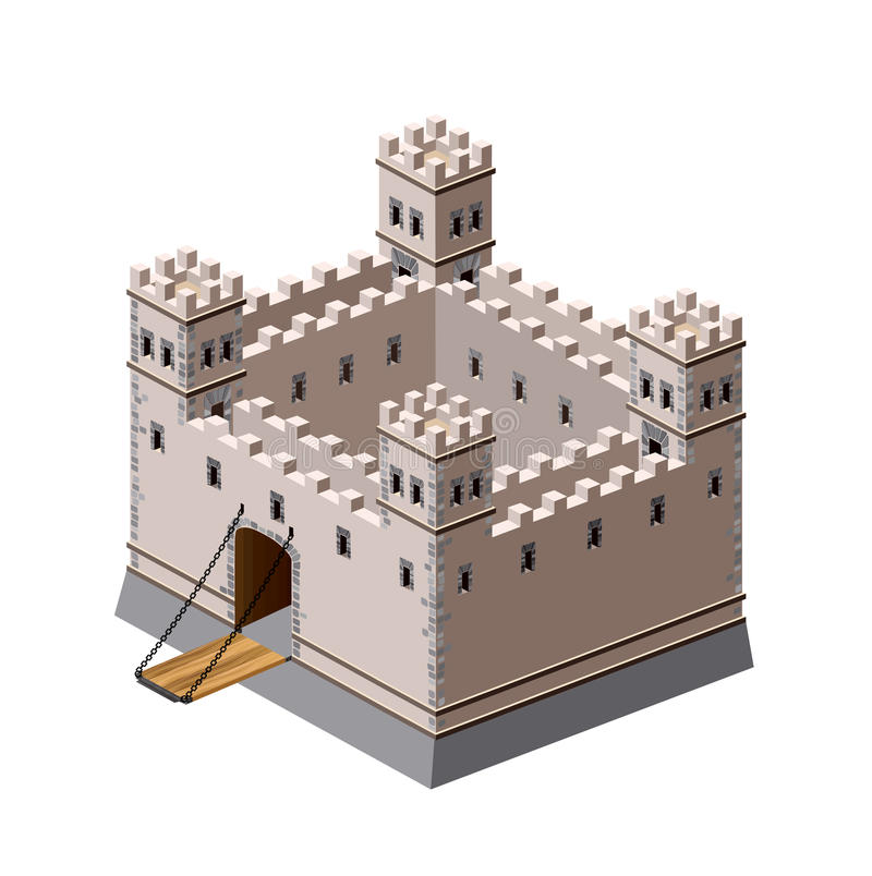 Medieval fortress. A perspective view of a medieval fortress on a white background royalty free illustration