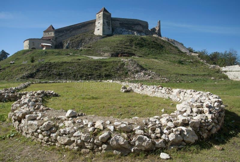 Medieval fortress in Rasnov. Brasov, Transylvania, Romania stock photo