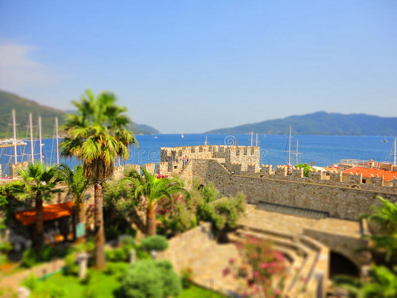 Medieval fortress by sea, selective focus, tilt-shift effect royalty free stock photo