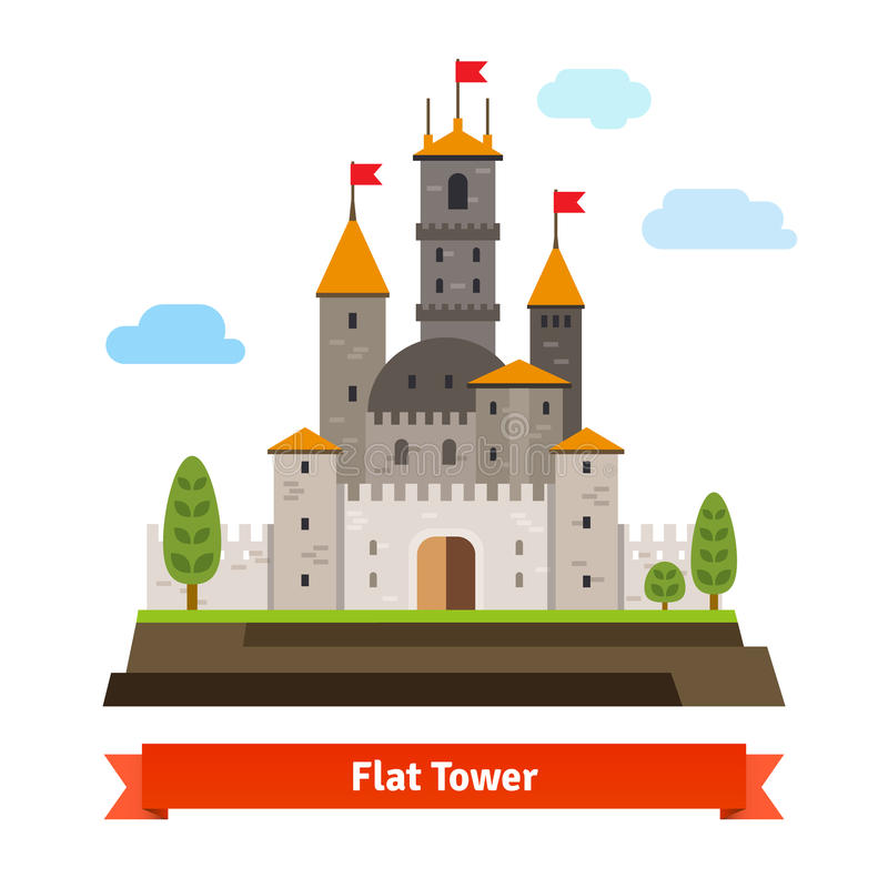 Medieval fortress with towers. Flat style vector cartoon illustration on white stock illustration