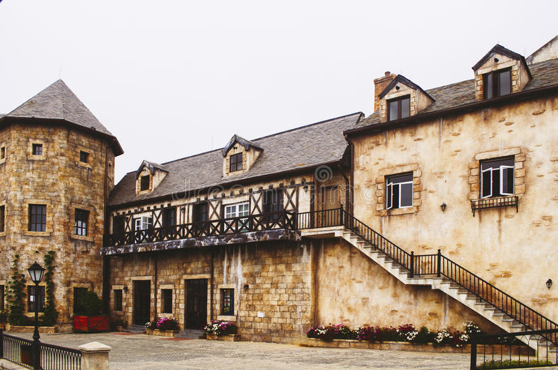 Medieval french village. Old medieval building in ancient french village royalty free stock photos