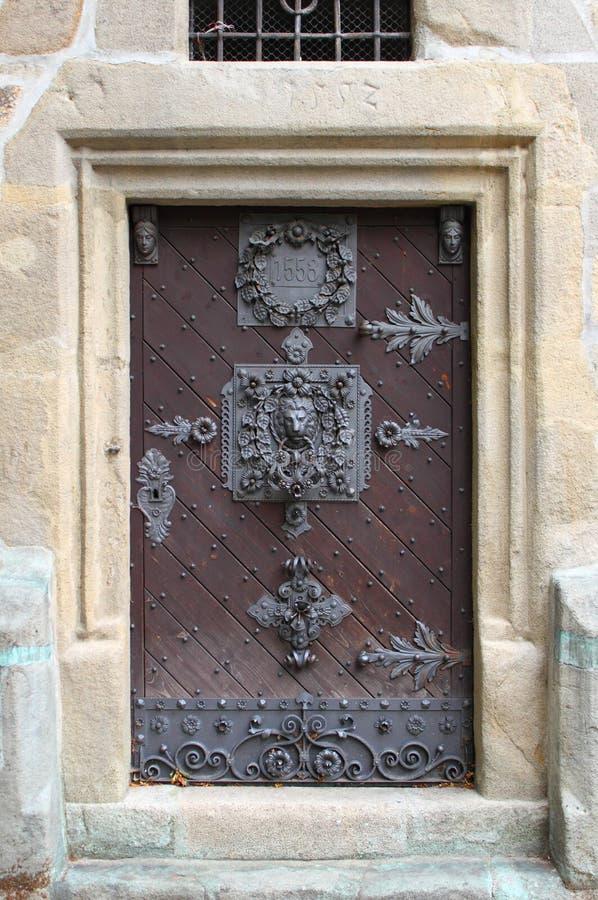Medieval front door in Prague royalty free stock images