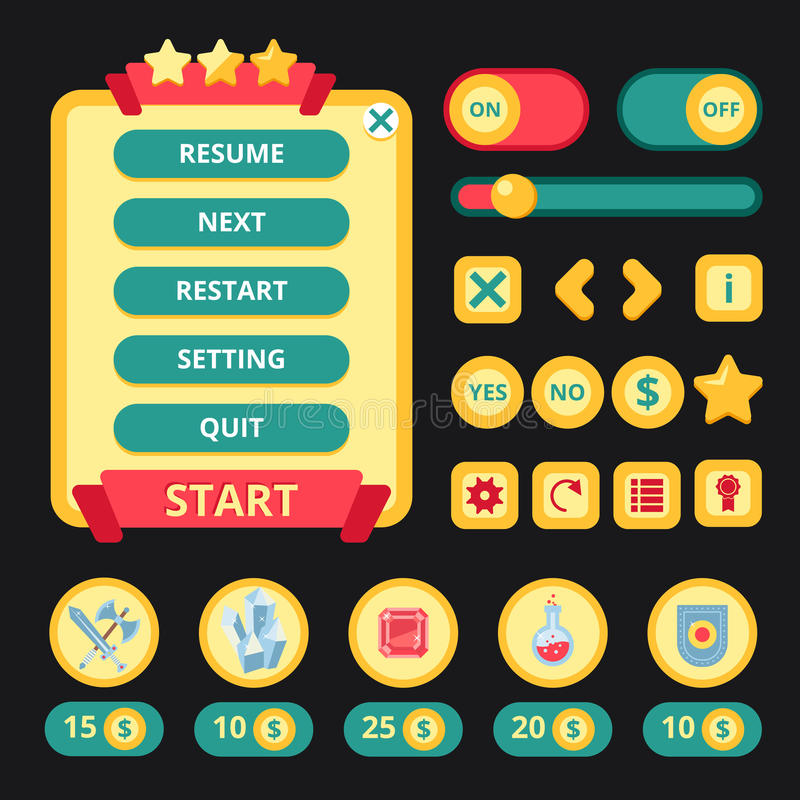 Medieval Game Interface. Medieval video game mobile application user interface template vector illustration vector illustration