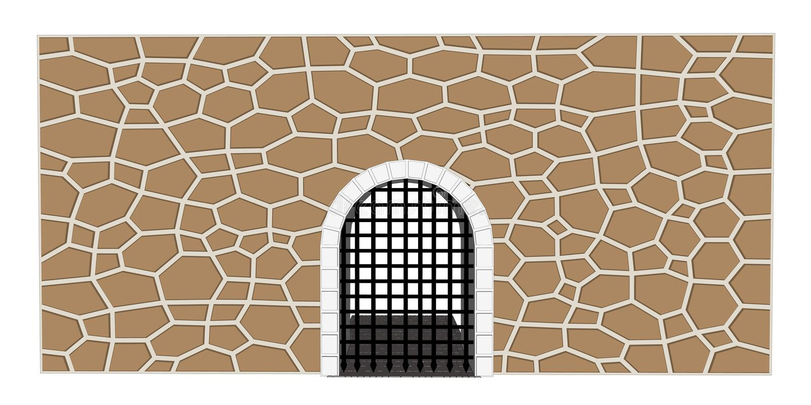 Medieval gate vector illustration. Vector medieval close gate castle illustration 1 stock illustration