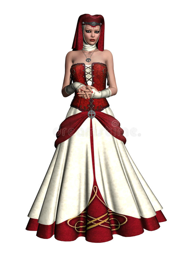 Medieval girl 2. 3D render of a girl in a medieval red and white dress royalty free illustration