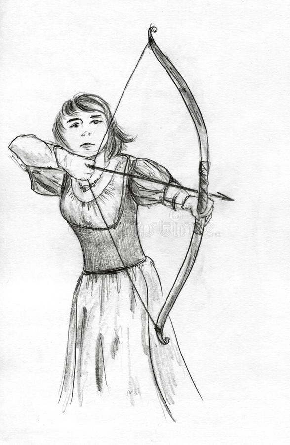 Medieval girl archer. With a short bow aiming at something. Pencil drawing, sketch vector illustration
