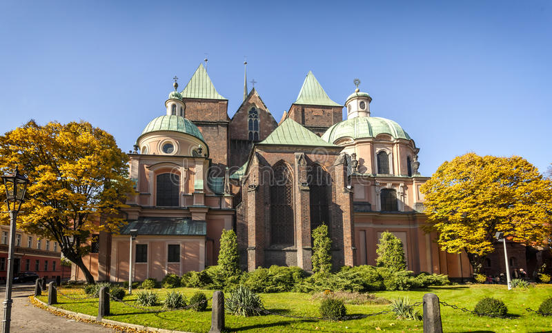 Medieval, gothic cathedral in Wroclaw (Breslau), Poland stock photography