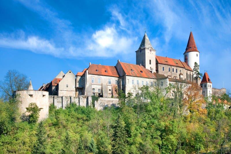 Medieval gothic royal castle with ramparts Krivoklat near Rakovnik, Central Bohemia region, Czech republic. National cultural lan. Dmark stock images