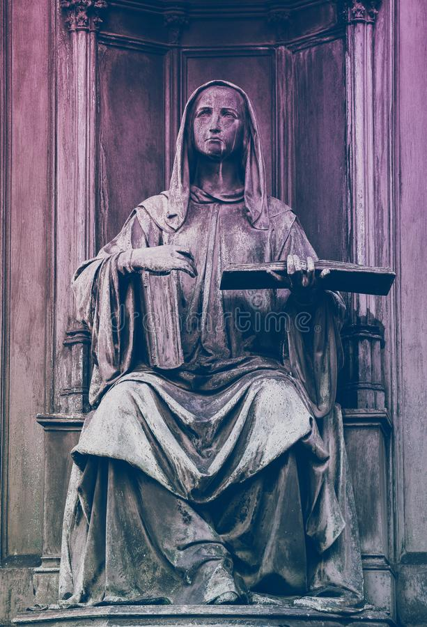 Medieval gothic statue, Prague, part of the monument of the Czech King Charles 4. Figure with book, Charles IV sculpture. stock photo