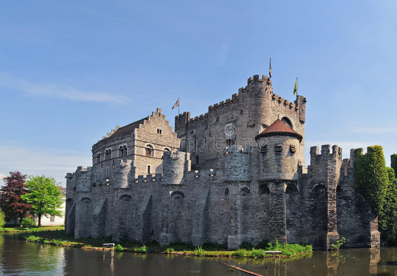 Medieval Gravensteen Castle In Gent stock images
