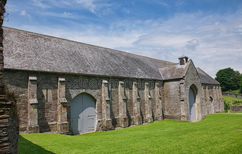 The Medieval Great Barn Buckland Abby. Cistercian monks chose this tranquil valley as a spot to live and worship on. Later it was converted into a house. The stock photography