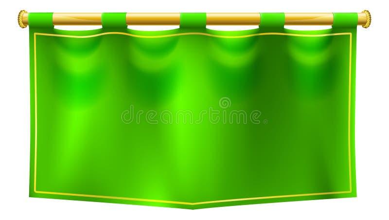 Medieval Green Royal Banner Flag vector illustration