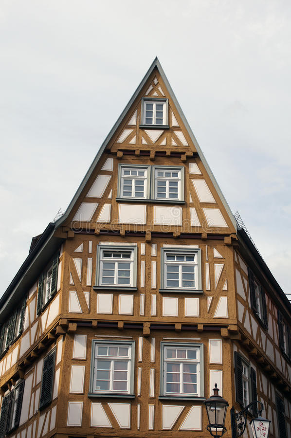 A medieval half-timbered house stock photography