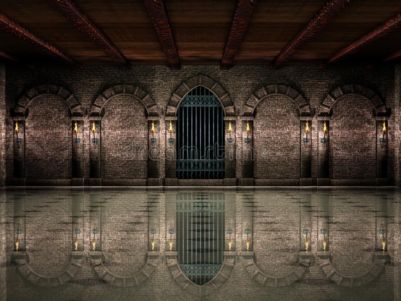 Medieval hall and iron gate royalty free illustration