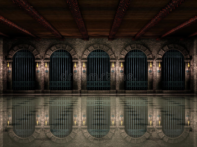 Medieval hall and iron railings royalty free illustration
