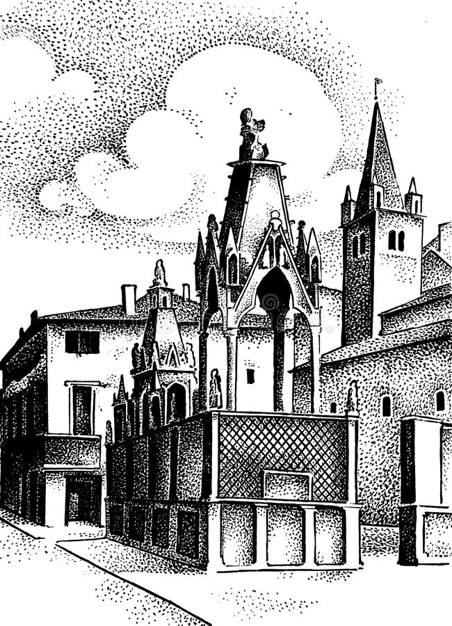 Medieval hand drawn city with castle and wall european or italian town vintage illustration, ink.  vector illustration