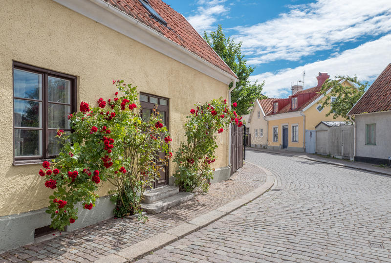 Medieval Hanse town Visby on Gotland. Medieval alley in the historic Hanse town Visby on Swedish Baltic sea island Gotland royalty free stock photography