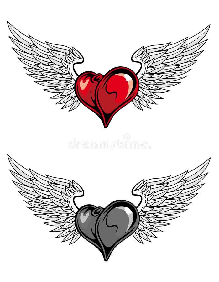 Medieval heart tattoo stock illustration