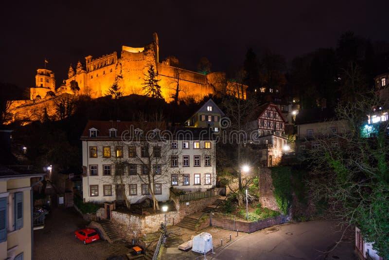 Medieval heidelberg castle at night illuminated royalty free stock photo