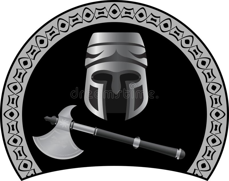 Download Medieval helmet with axe stock vector. Image of medieval - 26537816