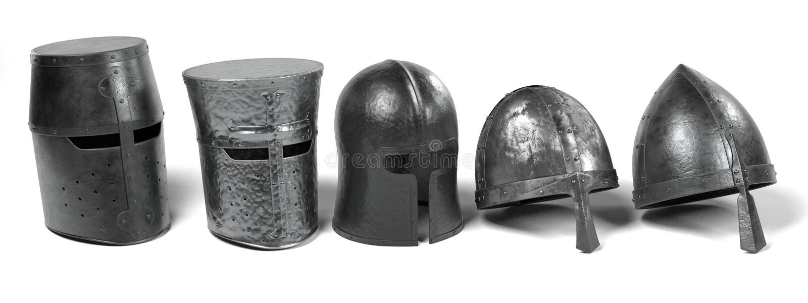 Medieval helmets vector illustration