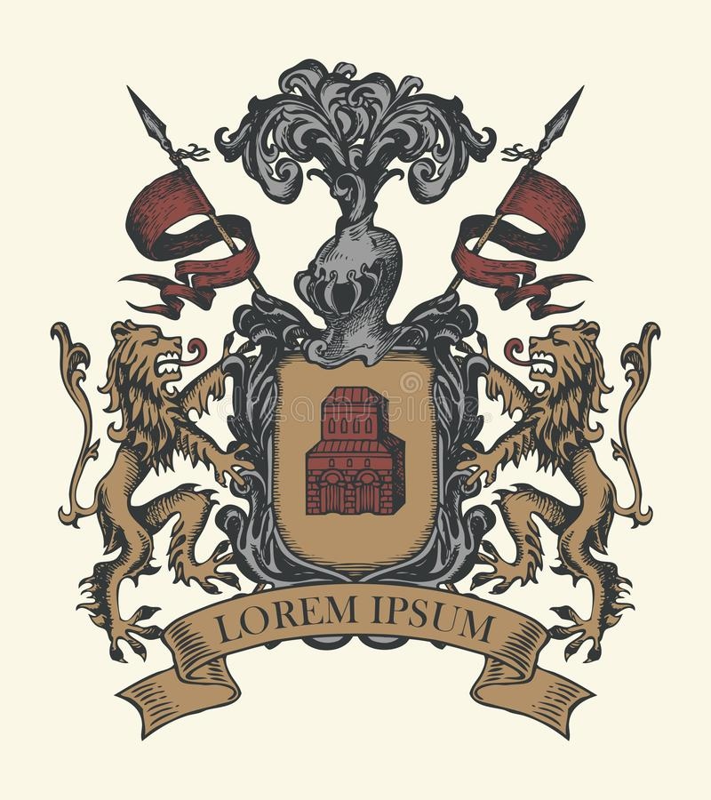 Free Medieval Heraldic Coat Of Arms In Vintage Style Royalty Free Stock Images - 158073019
