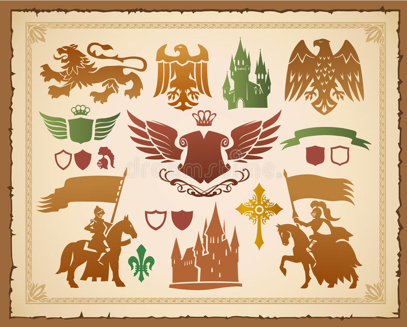 Download Medieval Heraldic Set Stock Photo - Image: 19587330