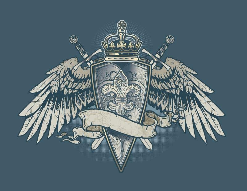 Engraved Fleur shield royalty free illustration