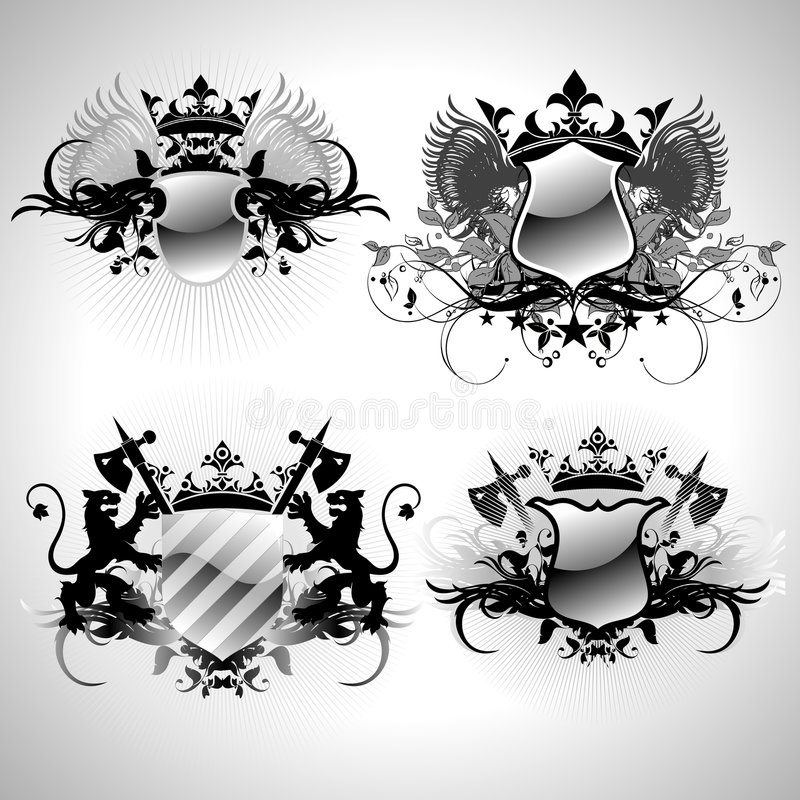 Download Medieval heraldic shields stock vector. Image of frame - 4888213