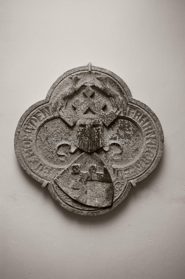 Medieval heraldic stone carving royalty free stock photo