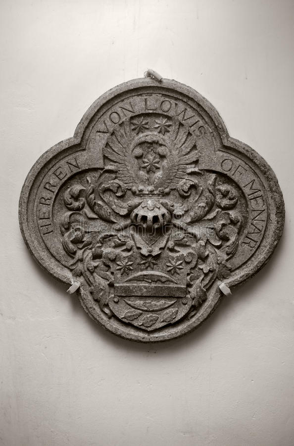 Medieval heraldic stone carving. Heraldic stone carving from the medieval Livonia, Latvia royalty free stock images